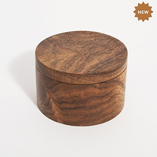 (Rusticity Wooden Salt Box - Kitchen or Dining Table Spice and Herb Container(Set of 2) | Single Compartment for Salt, Spices, Herbs, Seasoning & More|Acacia Wood|Handmade|(3.75x3.8 in))