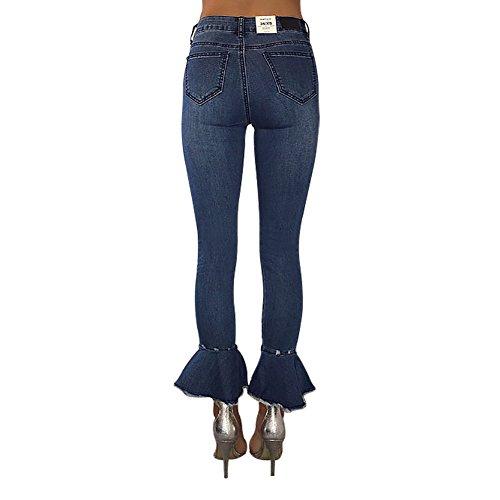 Vita Nappe Con Tinta Blu Mena Slim Fondo Unita Svasati Pantaloni Alta A Skinny Matita Jeans Campana gPgZx4tq