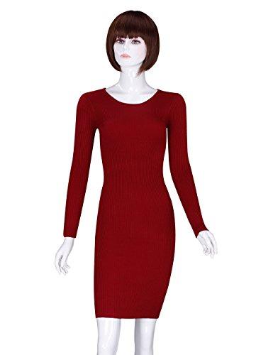 ADAMARIS Women's Fall Crew Neck Knit Elasticity Long Sleeve Slim Sweater Dress