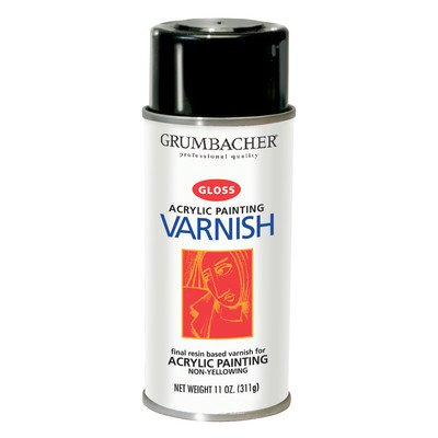 picture of Grumbacher 547 11-Ounce Hyplar Varnish for Acrylic Painting, Gloss Spray Can