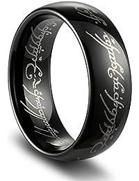 tusen joyería chapada en el Señor de los anillos, alta Polaco Negro Carburo de Tungsteno de los hombres Anillo