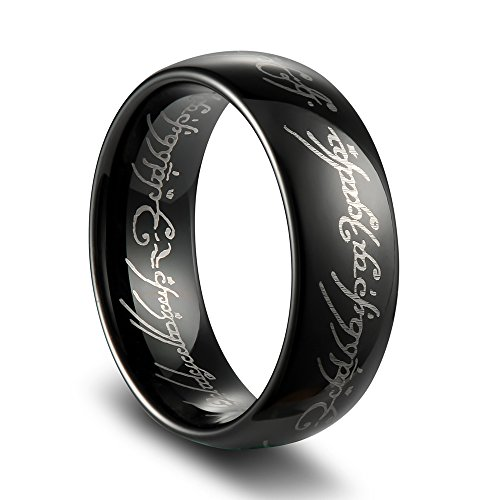 Tusen Jewelry The Lord of the Rings High Polish Black Plated Tungsten Carbide Ring Men's Ring (Lord Of Rings Rings)