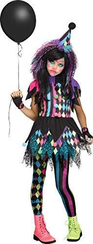 Halloween Clown Girl Outfit.Girls Dark Jester Killer Clown Circus Horror Halloween Fancy