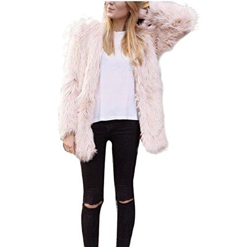Vovotrade Donne di modo caldo del rivestimento del cappotto in pelliccia sintetica Fox Inverno Parka Cappotti (M, Rosa)