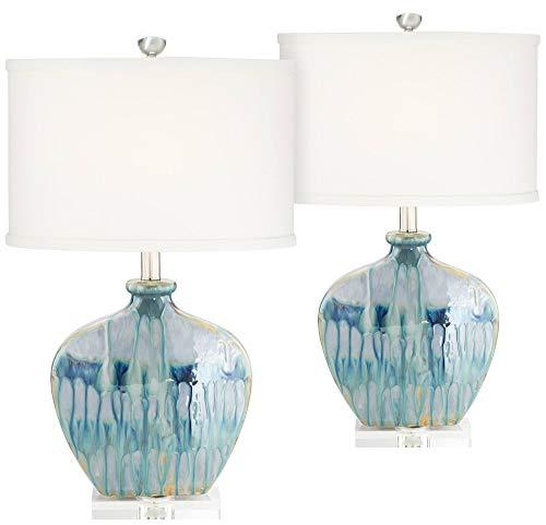 Mia Coastal Table Lamps Set of 2 Ceramic Blue Drip Off White Oval Shade for Living Room Family Bedroom Office - Possini Euro Design (White Base Blue And Ceramic Lamp)