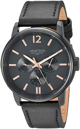Armitron Men s Multi-Function Dial Black Leather Strap Watch