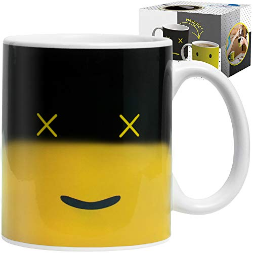 Cool Color Changing Magic Mug - Funny Coffee & Tea Unique Heat Changing Sensitive Cup 12 oz Yellow Happy Face Design Drinkware Ceramic Mugs Cute Birthday Idea for Mom Dad Women & Men