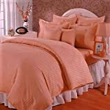 Trance Home Linen 210 TC Cotton Duvet Cover with 2 Pillow Covers - King Size (Peach)