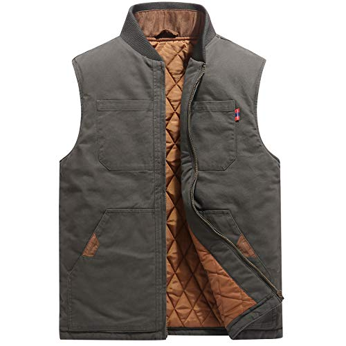 Flygo Mens Casual Outdoor Work Utility Quilted Duck Insulated Vest (Medium, Army Green)