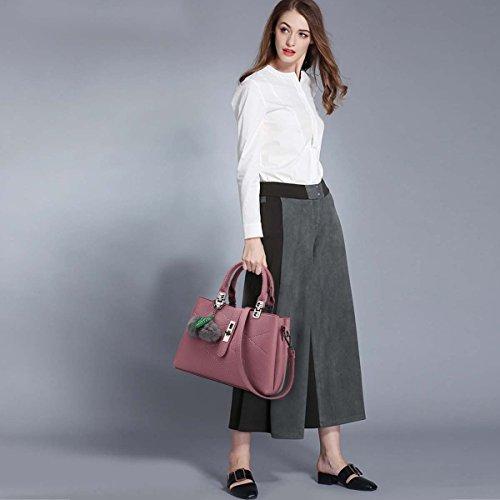 Minetom Damen Lady Neu Leder Welle Paket Kuriertasche Weiblichen Beutel Handtaschen für Frauen Schultertasche Office Satchel Tote für Frauen Dunkelpink