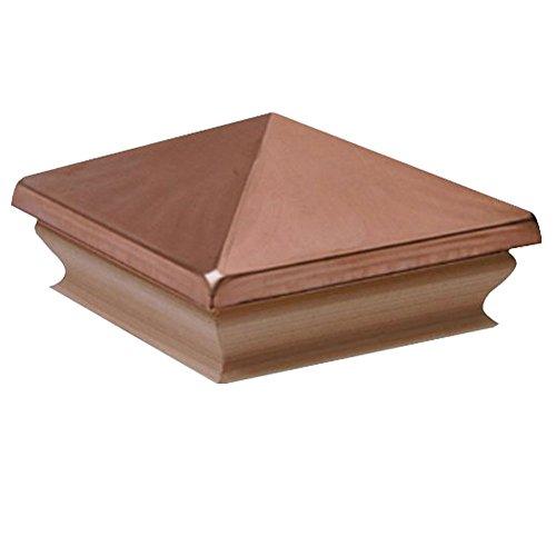 Woodway Copper Pyramid 6x6 Post Cap - Premium Cedar Wood Base Post Cap, Newel Post Top 6 x 6, Fits Up To 5.5 x 5.5 Inch Post, 1 PC ()