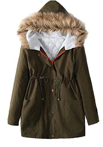 Verde Collo Pelliccia Cappotto Di Donne Invernale Giacca Atree Delle Parka Sottile Trapuntata qAOz4Wdx