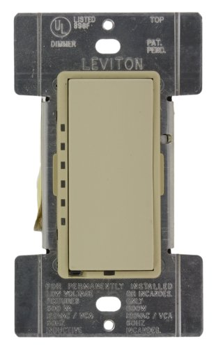 Leviton MDM06-1LI Mural 600VA 450W Preset Digital Magnetic Low-Voltage Rocker Dimmer, Single-Pole and 3-Way, Ivory ()