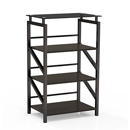Mayline 1007BB SOHO Glass Top Bookcase, 4 Shelf, Textured Black Laminate (Glass Soho Shelf)