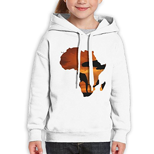Bdna Teenager Pullover Hoodie Sweatshirt Africa Map Teen's Hooded For Boys Girls by Bdna