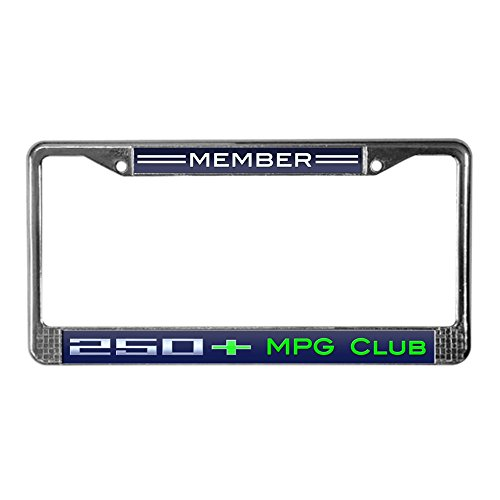- CafePress Chevy Volt 250+ MPG Club Member Chrome License Plate Frame, License Tag Holder