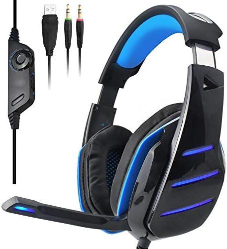 LEDゲーミングヘッドセットデュアル3.5mmの有線ヘッドフォンW /マイクベースは、ノイズのコンピュータゲーマー音楽/Tiktokためのイヤホンを分離します,ブルー