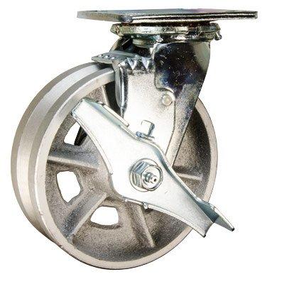 6-Swivel-Caster-wBrake-6-x-2-V-Groove-Semi-Steel-Wheel-Service-Caster-Brand