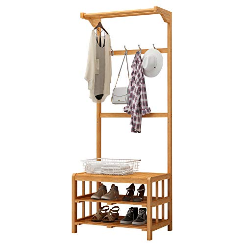 Amazon.com: MEIDUO Coat Rack with Bench, Double 4 Hooks and ...