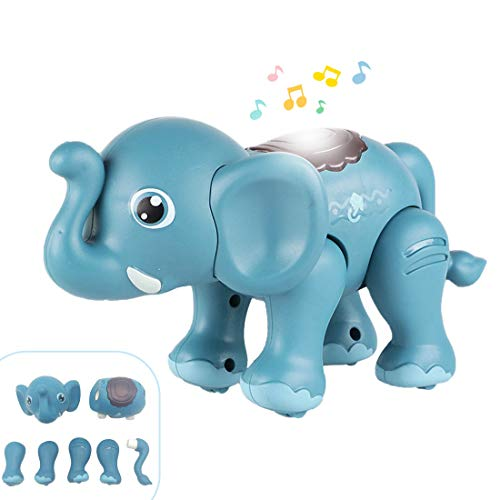 QUQUMA Animal Toys Magnetic Building, Touch Recording Talking Cartoon Animals with Sound Light Gifts for Kids Boys Girls 3 4 5+ Year Old (Elephant)