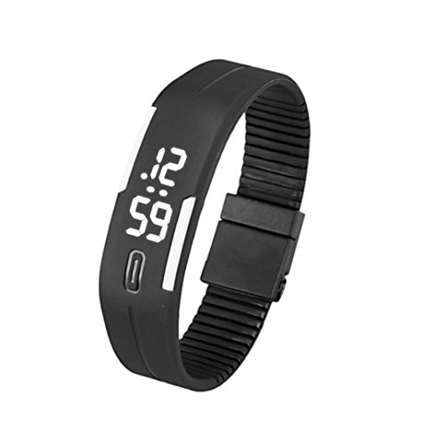Fitfulvan Function Outddors Mens Womens Silicone LED Watch Date Sports Bracelet Digital Wrist Watch B&W