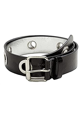 Mango Women's Eyelets Patent Belt, Black, L - Eyelet Belt
