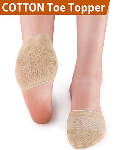 VERO MONTE 6 Pairs Womens Toe Topper Socks - No Show Half Socks (6-9, Skin) 46111