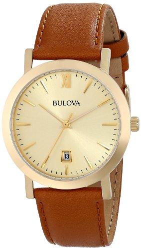 Brown Strap Bulova - Bulova Unisex 97B135 Analog Display Japanese Quartz Brown Watch
