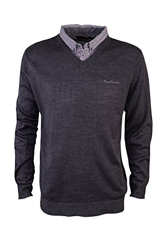 pierre-cardin-mens-new-season-v-neck-knitted-jumper-with-mock-shirt-collar-insert-2xl-charcoal-marl