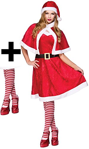 Mrs Santa Claus + Tights Ladies Fancy Dress Christmas Xmas Womens Adults Costume UK 10-14 by Mega Fancy Dress