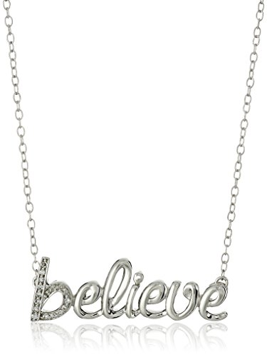 Sterling Diamond Believe Pendant Necklace