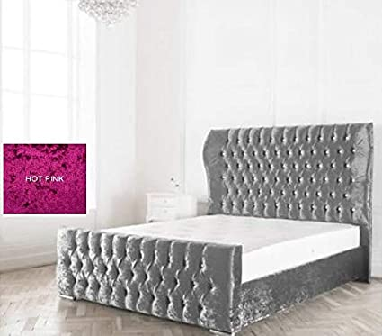 buy popular 392b0 c3189 Crushed Velvet WestMinister Winged Bed Hot Pink, 4ft Small Double (Matching  Buttons)
