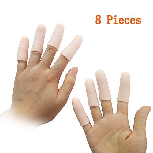 Silicone Finger (Jrery Finger Protection Finger Covers for Cracked Fingers - 8 Pcs Finger Sleeves Silicone Gel Finger Tips Protector, Also Use for Toe Corn Callus Protect (Pink--Finger Covers))
