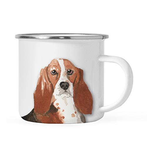 Andaz Press 11oz. Stainless Steel Dog Campfire Coffee Mug Gift, Basset Hound Up Close, 1-Pack, Pet Animal Camp Camping Enamel Cup Modern Birthday Gift Ideas for Him Her Family
