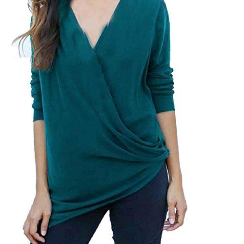 Tongshi Mujeres Moda de manga larga de cuello en V profundo irregular elástico remata la camiseta Verde