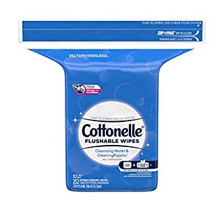 Cottonelle Flushable Wet Wipes for Adults, 1 Refill Pack, 252 Wipes, Alcohol-Free