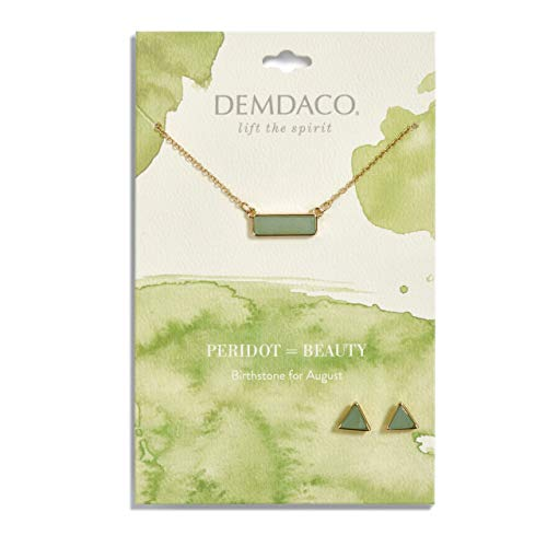 DEMDACO August Peridot Women's Natural Stone Gold-Plated Birthstone Necklace & Earrings Set