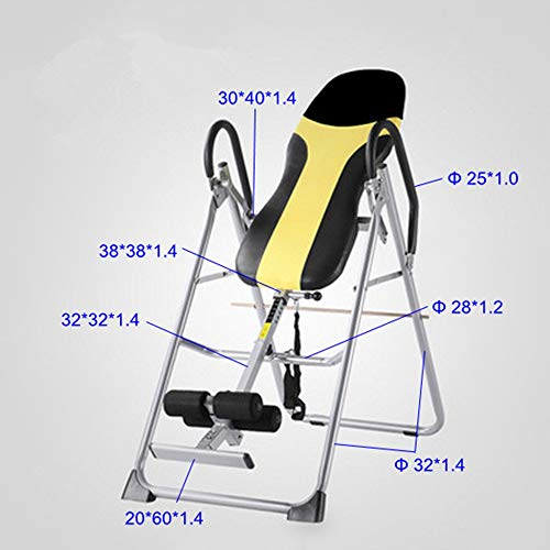 HLH-Fitness Equipment Durable Collapsible Inversion Table with Upgrade Ankle Holding Tube Double Lock Collapsible Inversion Table Non-Slip (Color : Black Yellow, Size : 12060140CM)