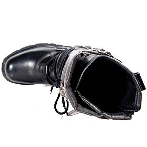Stivali neri nuovi in rocce gotico con reattore solare e fibbie regolabili per il comfort