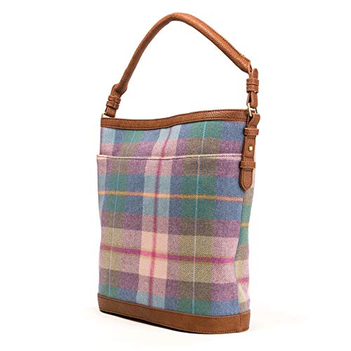 Joules Womens Chesham Tweed Slouch Bag ONE in GREEN CHECK in One Size