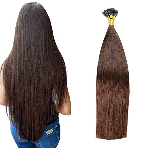 JIAMEISI I-Tip Hair Extensions Remy Flat Fusion Hair Extensions Human Hair Full Head 100S Stick I Tip Human Hair Extensions Long Straight 1g/Strand 100 Gram Per Package(18''/45cm,#2Dark Brown)
