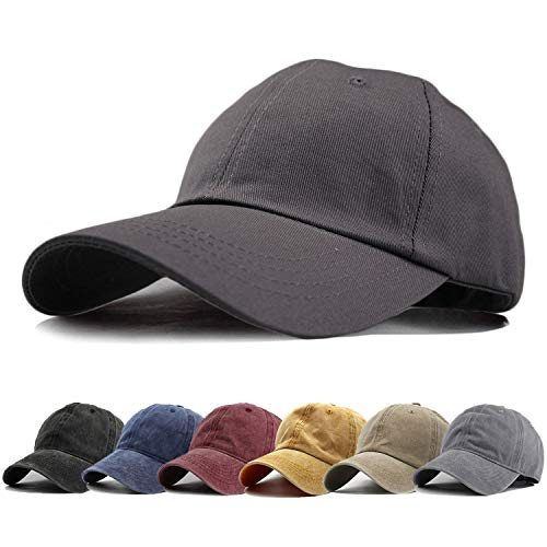 HH HOFNEN Men Women Washed Twill Cotton Baseball Cap Vintage Adjustable Dad Hat (#1 Charcoal Classic)