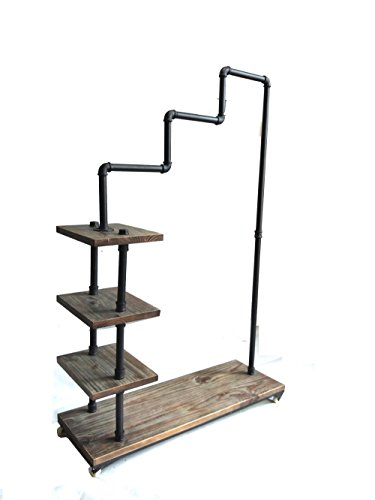 Diwhy Industrial Pipe Clothing Rack Pine Wood Shelving Shoes Rack Cloth Hanger Pipe Shelf 4 Layer by Diwhy (Image #8)