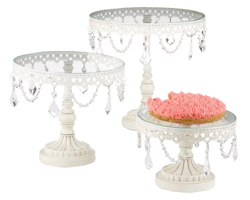 Christmas Tablescape Decor - White Scroll iron & glass cake stands with glass drop dangle accents - Set of 33