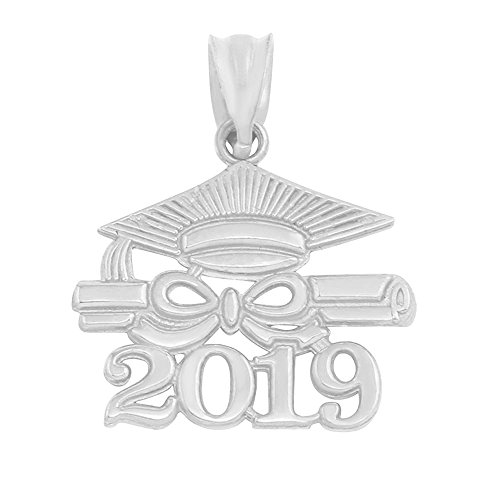925 Sterling Silver Diploma & Cap Charm 2019 Graduation Charm Pendant ()