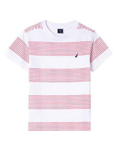 Nautica Boys' Big Short Sleeve Striped Crew-Neck T-Shirt, Ripple Carmine, Large (14/16) ()