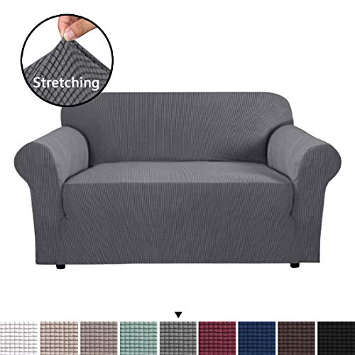 H.VERSAILTEX Gray Loveseat Cover 1-Piece Spandex Sofa Cover Stretch Furniture Slip Covers for Sofa and Loveseat, Anti-Slip Foams, Machine Washable Loveseat Covers for Living Room, 2 Seater