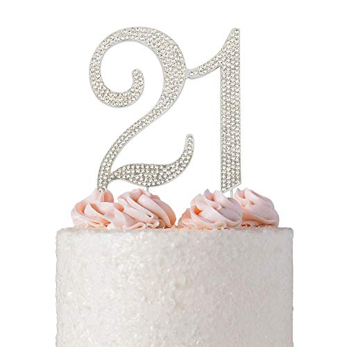 21 Rhinestone Cake Topper | Premium Bling Crystal Rhinestone Diamond Gems | 21st Birthday Party Decoration Ideas | Quality Metal Alloy | Perfect Keepsake (21