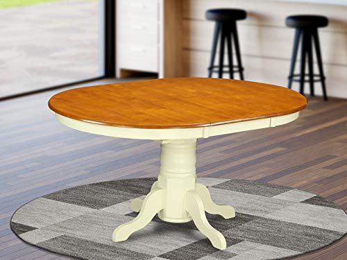 """KET-WHI-TP a Pedestal Oval Dining Table 42""""x60"""" with 18"""" Butterfly Leaf"""