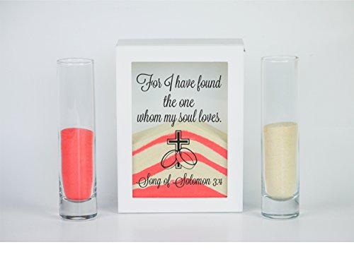 Sand Ceremony Set, For I Have Found the One Whom My Soul Loves, Shadow Box Wedding, Vow Renewal, Unity Sand Ceremony Set, Beach Wedding Decor, Unity Candle Set, (Wedding Vows Unity Candle)